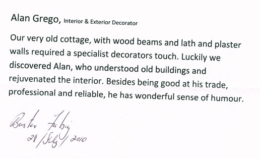 Painting and Decorating Testimonial Wood Beam and Lath